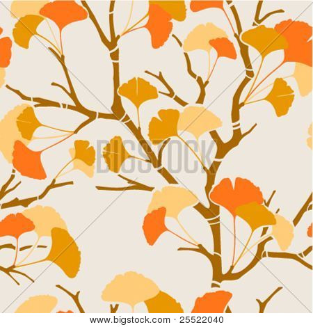 seamless pattern with autumn ginkgo leaves