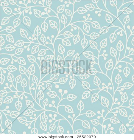 blue seamless pattern with leaves