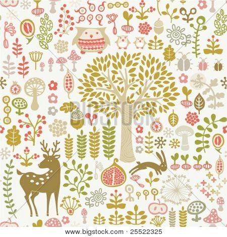 padrão de floresta de outono sem costura
