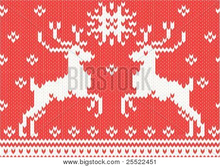 christmas seamless background. knitted deers