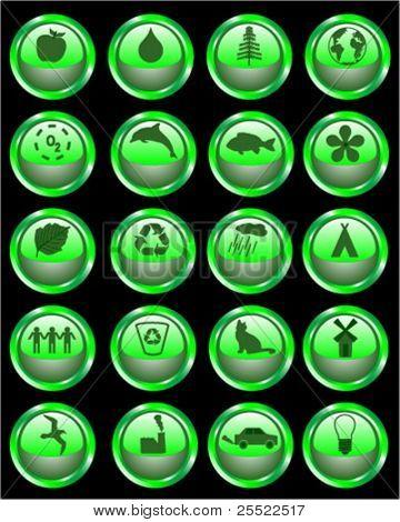 Environmental signs symbols web buttons