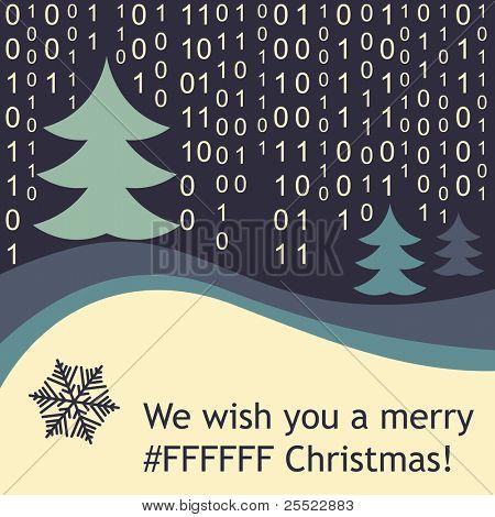 Funny Christmas greeting card (raster version)
