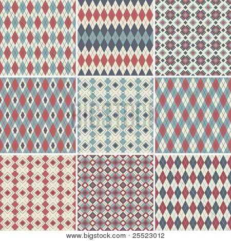 Collection of seamless argyle patterns