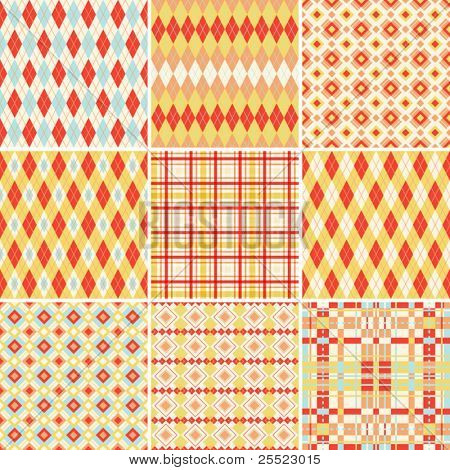 Collection of seamless plaid and argyle patterns in bright colors