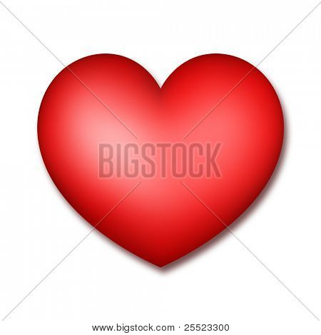 Red heart on a white background. A raster illustration