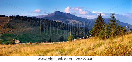 Summer landscape in mountains and a high-mountainous farm