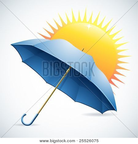 Illustration for design with an umbrella and the sun