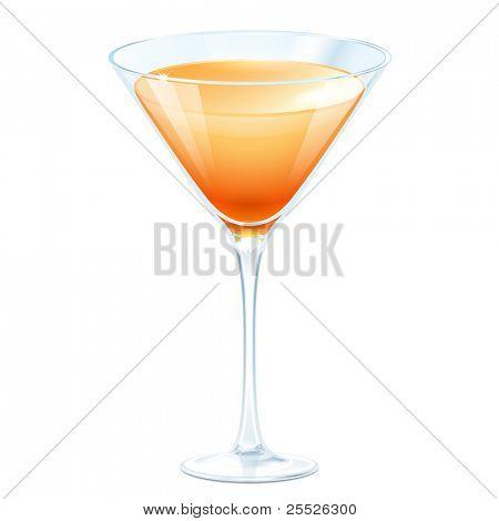 Cóctel de naranja en un vaso de martini sobre un fondo blanco