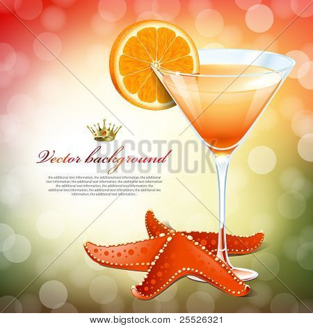 Orange cocktail in a glass and a starfish