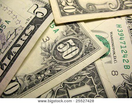 Cash closeup, us dollars bills macro shot