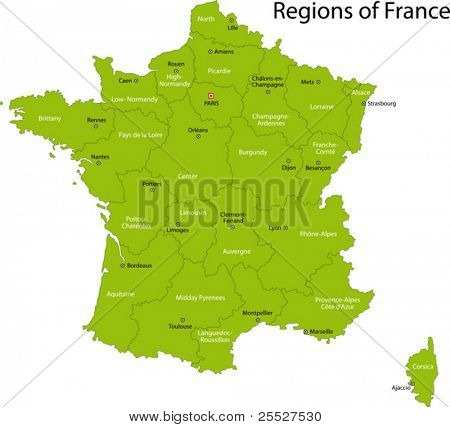 Green France map with regions and main cities