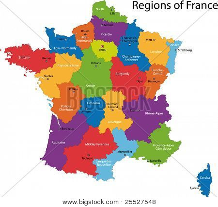 Colorful France map with regions and main cities