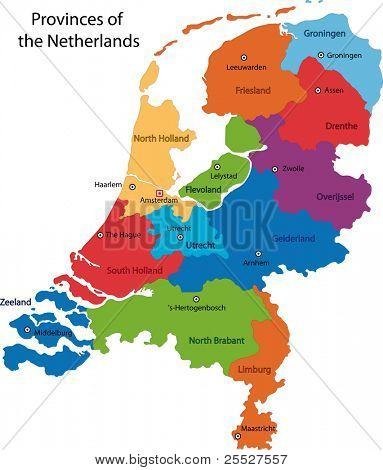 Colorful Netherlands map with regions and main cities