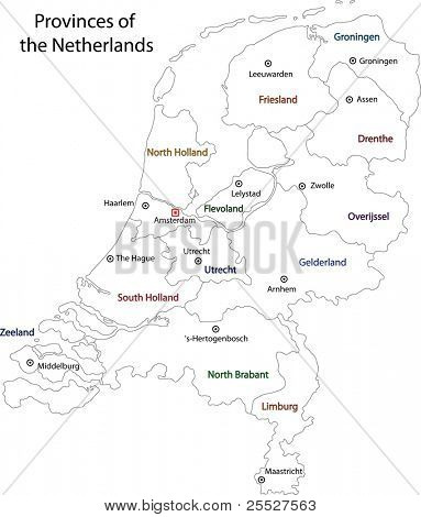 Outline Netherlands map with regions and main cities