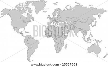 Gray map of world with countries borders