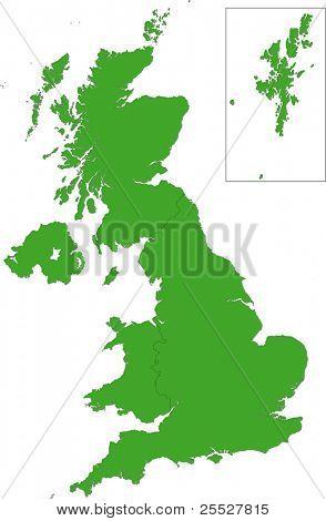 Grüne Karte von Großbritannien