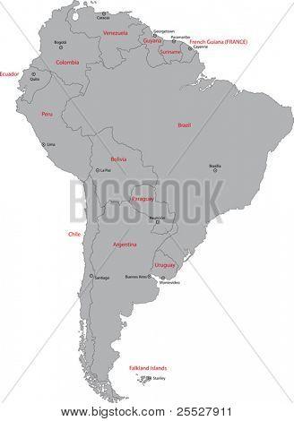Mapa da América do Sul de Grey com países e capitais