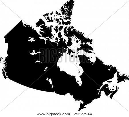 Black Canada map with province borders