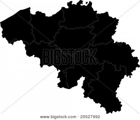 Black Belgium map with region borders