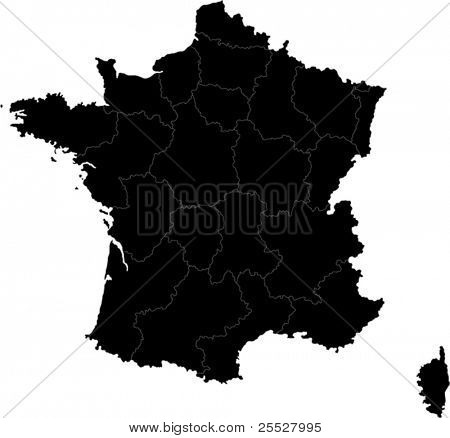 Black France map with region borders