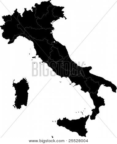Black Italy map with region borders