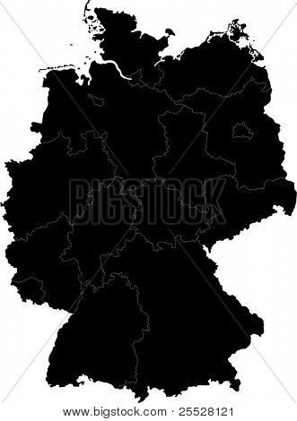 Black Germany map with region borders