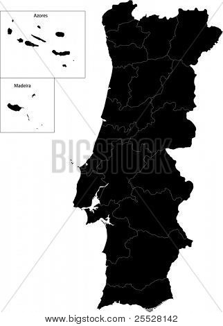 Black Portugal map with region borders