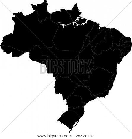 Black Brazil map with state borders