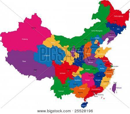 Bunte administrative Gliederung der Volksrepublik China mit Hauptstädte