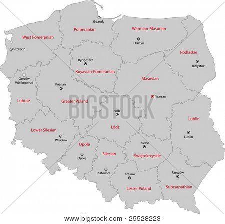 Karte der Stadtbezirke von Polen mit Hauptstädte
