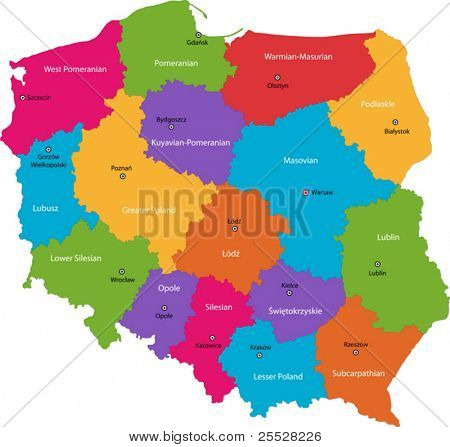 Vector color map of administrative divisions of Poland with capital cities