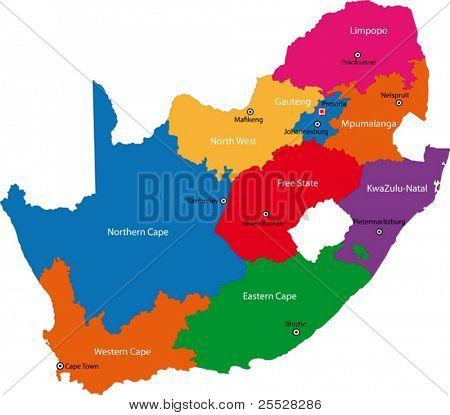 Mapa de Sudáfrica diseñado en la ilustración con las provincias y las ciudades principales.