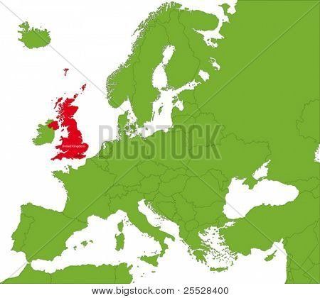 Ubicación del Reino Unido en el continente de Europa