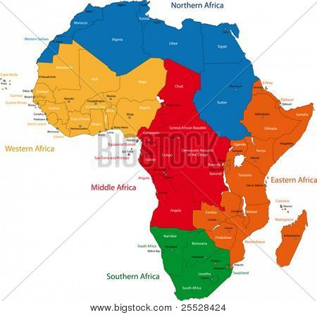 Colorful regions of Africa with countries and capital cities