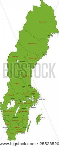 Green map of administrative divisions of Sweden with capital cities