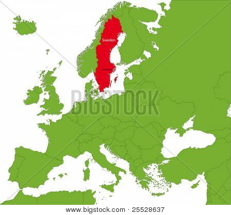 Location of Sweden on the Europa continent