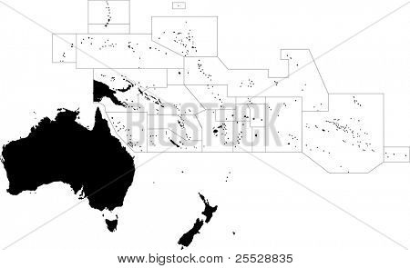 Oceania map separated on the countries