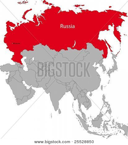 Location of the Russian Federation on the Asian continent