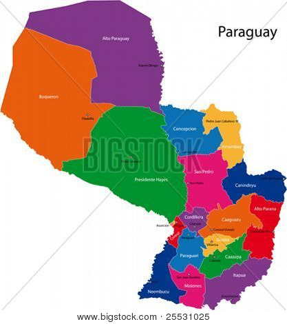 Map of the Republic of Paraguay with the departments colored in bright colors and the main cities.