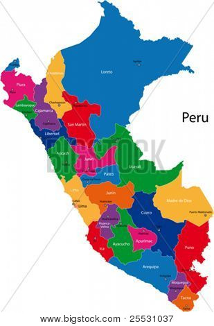 Map of the Republic of Peru with the regions colored in bright colors and the main cities.