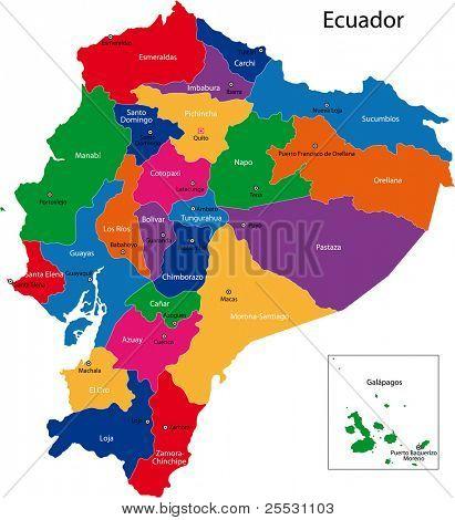 Mapa de la República del Ecuador con las regiones de color en colores brillantes y las principales ciudades