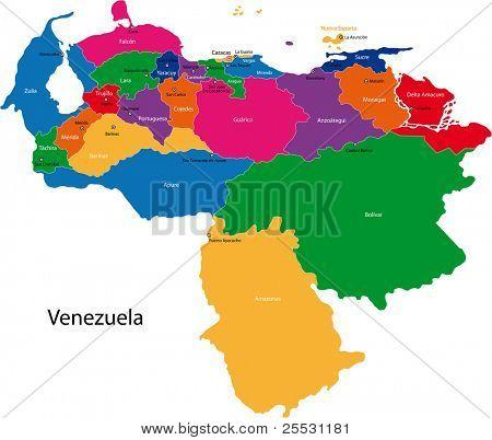 Mapa da República Bolivariana da Venezuela com os Estados coloridos em cores brilhantes e o ci principal