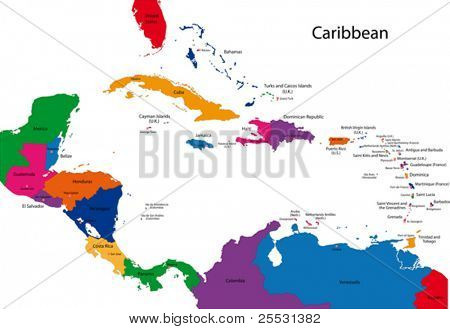 Colorful Caribbean map with countries and capital cities