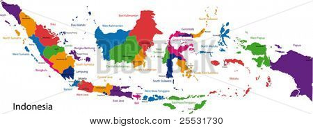 Map of the Republic of Indonesia with the  provinces colored in bright colors