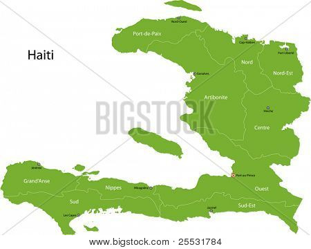 Haiti map with departments and capital cities