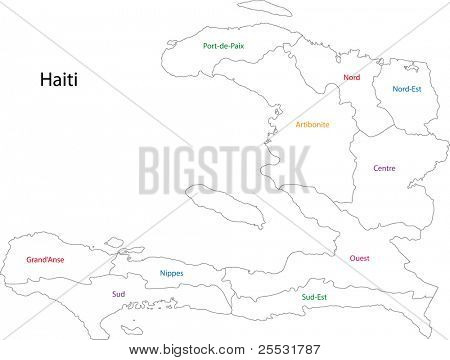 Outline Haiti map with departments
