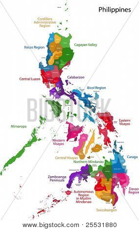 Map of Republic of the Philippines with eighty provinces