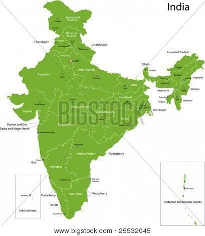 Mapa da Índia com Estados e capitais