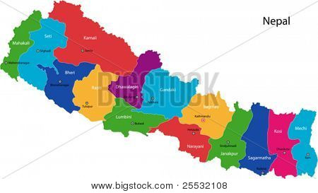Map of the Federal Democratic Republic of Nepal with zones colored in bright colors