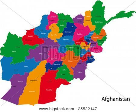 Map of the Islamic Republic of Afghanistan with the provinces colored in bright colors